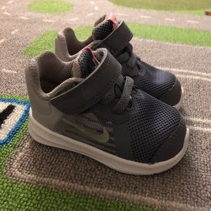 Baby Girl Gray and White Nike Shoes